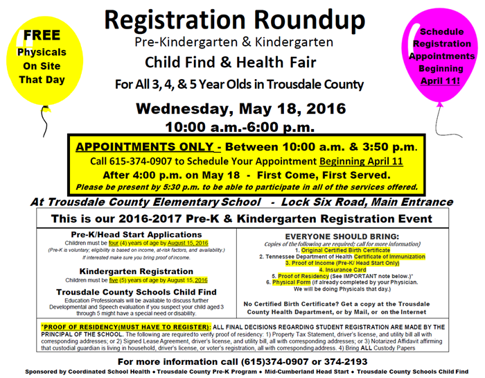 Pre-K and Kindergarten Round Up - Trousdale County Elementary School