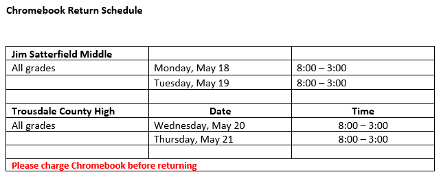 chromebook return schedule